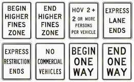 Regulatory United States MUTCD road signs Royalty Free Stock Photo