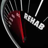 Rehab Word Speedometer Measure Cure Therapy Addiction. Rehab word on a speedometer to measure your cure or therapy from a physical accident or drug addiction vector illustration