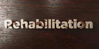 Rehabilitatie - grungy houten krantekop op Esdoorn - 3D teruggegeven royalty vrij voorraadbeeld royalty-vrije illustratie