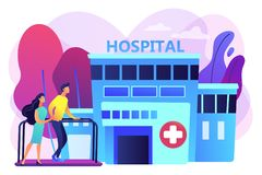 Rehabilitation center concept vector illustration. Therapist working with patient at rehabilitation center. Rehabilitation center, rehabilitation hospital royalty free illustration