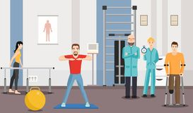 Rehabilitation center, physiotherapy under supervision of doctors. vector illustration