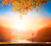 Christmas concept: The Cross symbol of christian and Jesus Christ royalty free stock photography