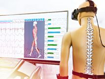 Rehabilitation device with virtual reality stock image