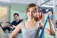 Rehabilitation exercises at physiotherapy clinic Stock Images