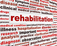 Rehabilitation medical message concept royalty free stock images