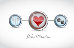 Rehabilitation medical sign illustration Stock Photos