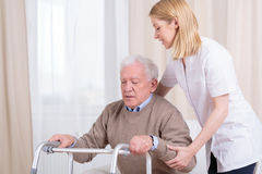Rehabilitation in nursing home Stock Photo
