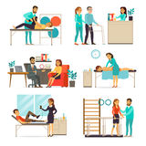 Rehabilitation And Therapy Set. With people doing different psychological and physical exercises after injuries isolated vector illustration Stock Images