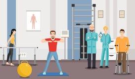 Rehabiliteringmitt, sjukgymnastik under övervakning av doktorer vektor illustrationer