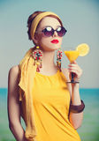 Rehad women with coktail. Stock Photography