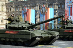 Rehearsal celebration of the 72th anniversary of the Victory Day WWII. The T-72B3 is a third-generation Russian main battle tank Stock Photography