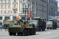 Rehearsal for the celebration of the Victory Parade in Moscow. MOSCOW, RUSSIA - MAY 07, 2015:Rehearsal for the celebration of the Victory Parade in Moscow. The stock photos
