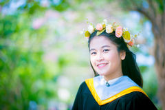 Rehearsal day. The image of Thai girl and garden background and foreground in her rehearsal day in Burapha University University in Thailand. Photo was taken on Stock Images