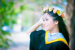 Rehearsal day. The image of Thai girl and garden background and foreground in her rehearsal day in Burapha University University in Thailand. Photo was taken on Stock Photo
