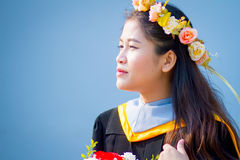 Rehearsal day. The image of Thai girl and garden background and foreground in her rehearsal day in Burapha University University in Thailand. Photo was taken on Stock Image