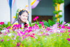 Rehearsal day. The image of Thai girl and garden background and foreground in her rehearsal day in Burapha University University in Thailand. Photo was taken on Stock Photos
