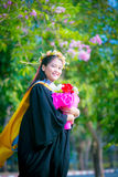 Rehearsal day. The portrait image of the happy Thai girl student in her rehearsal day of the graduation ceremony Stock Photography