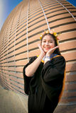 Rehearsal day. The portrait image of the happy Thai girl student in her rehearsal day of the graduation ceremony Royalty Free Stock Photography