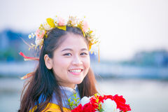 Rehearsal day. The portrait image of the happy Thai girl student in her rehearsal day of the graduation ceremony Stock Photos