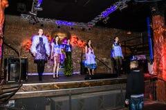 Rehearsal before fashion performance Art Chaos in night club Bla Royalty Free Stock Image