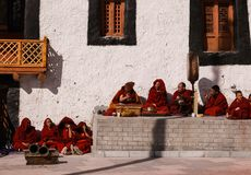 Rehearsal of the mask dance at the ancient monastery in Leh Stock Photos