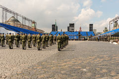 Rehearsal of military parade in Red Square, Moscow, Russia Stock Images