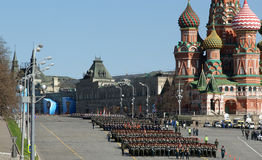 Rehearsal of military parade on Red Square Moscow, Russia Stock Image