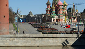 Rehearsal of military parade on Red Square Moscow, Russia Stock Photography