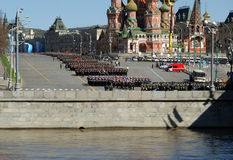 Rehearsal of military parade on Red Square Moscow, Russia Royalty Free Stock Photo