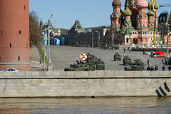 Rehearsal of military parade on Red Square Moscow, Russia Royalty Free Stock Photos