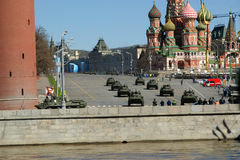 Rehearsal of military parade on Red Square Moscow, Russia Stock Images