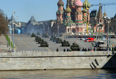 Rehearsal of military parade on Red Square Moscow, Russia Stock Photos