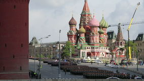 Rehearsal of military parade on Red Square Moscow, Russia. may, 07 2014 stock footage