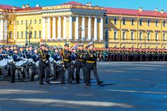 Rehearsal of the military parade to victory day. 2018, may 6, St. Petersburg stock photo