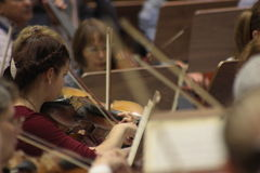 Rehearsal of an orchestra. Rehearsal of Omsk symphonic orchestra Stock Photo