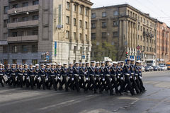 Rehearsal of parade Stock Image