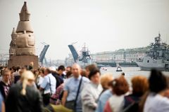 :Rehearsal of   parade on   day of   Navy in St. Petersburg. St. Petersburg, Russia - July 28, 2017:Rehearsal of   parade on   day of   Navy in St. Petersburg royalty free stock images