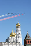 Rehearsal of the parade (flying fighters) in Moscow Royalty Free Stock Images