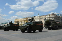Rehearsal of parade in honor of Victory Day in Moscow. Royalty Free Stock Photos