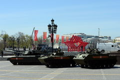 Rehearsal of parade in honor of Victory Day in Moscow. Stock Photo