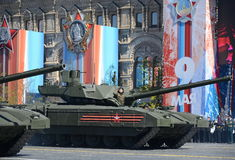 Rehearsal of parade in honor of Victory Day in Moscow.The T-14 Armata is a Russian advanced next generation main battle tank based Stock Photos