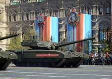 Rehearsal of parade in honor of Victory Day in Moscow.The T-14 Armata is a Russian advanced next generation main battle tank based Royalty Free Stock Image