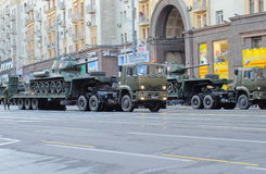 Rehearsal of parade of a victory in Moscow stock image