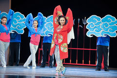 The rehearsal of the young actress-Jiangxi OperaBlue coat Royalty Free Stock Photos