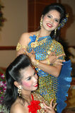 Rehearsing female Thai dancers Royalty Free Stock Photography