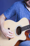 Rehearsing with guitar Royalty Free Stock Images