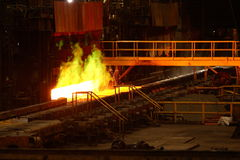 Reheat furnace. Here the slab is reheated, this furnace uses natural and coke oven gas, the slab then gets a 1200C temperature Royalty Free Stock Images