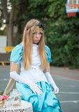 Alice in Wonderland - undefined girl, participant of Rehovot International Live Statues Festival. REHOVOT, ISRAEL - JULY 4, 2018: Alice in Wonderland - undefined royalty free stock photo