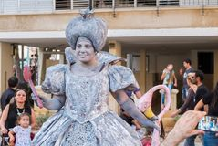 The Queen of Hearts, character from the Alice's Adventures in Wonderland - participant of Rehovot International Live Statues. REHOVOT, ISRAEL - JULY 4, 2018: The stock photography