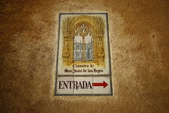 Reißen Sie Zeichen von San Juan de Los Reyes Monastry hin Stockbild